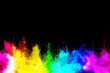 colorful rainbow holi paint color powder explosion isolated on black background.