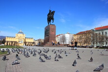 Tauben In Der Altstadt Von Zagreb