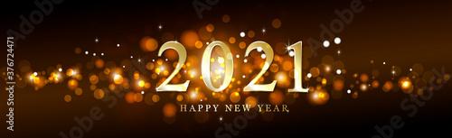 Fototapeta Multicolored and sparkly festive new year bokeh 2021 obraz