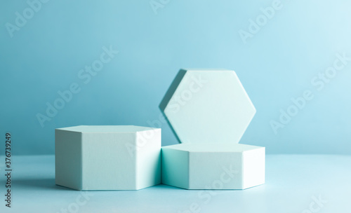 Slika na platnu Abstract background with hexagon shape podiums for products presentation or exhibitions