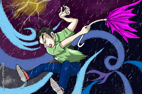 Photographie 猛烈な台風で、大雨と強風と雷で 傘も壊れて、悪戦苦闘する様子を描きました。