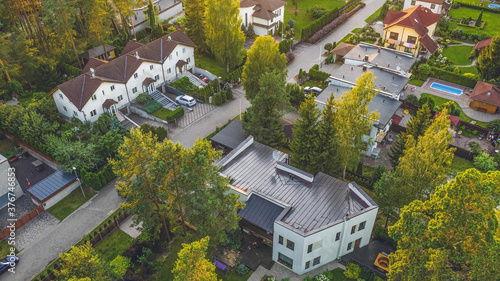 Top drone view of private sector of modern city Fototapet