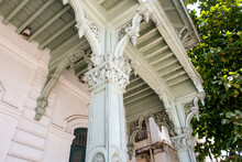 Carved Wooden Columns In Old Dispensary- Ornate, Storied, Elegant Late-19th-century Building With Elaborate Indian And European Elements, Now Home To A Museum, Close-up, Stone Town, Zanzibar.
