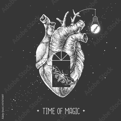 Fotografie, Obraz Modern magic witchcraft card with realistic human heart and window silhouette inside on outer space background