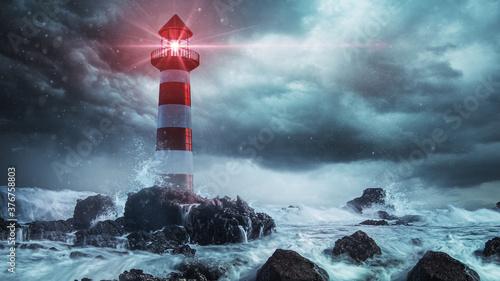 Leuchturm in stürmischer See Billede på lærred