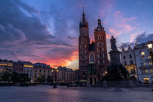 St. Mary's Church And Adam Mickiewicz Monumet Before Sunrise, Cracow, Poland
