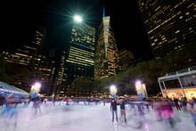 Ice Skating At Bryant Park, Manhattan, New York City, USA
