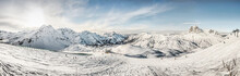 Panoramic View Of Mountains And Skiers, Warth, Vorarlberg, Austria