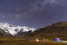 Milky Way, Ausangate, Willkanuta Mountain Range, Andes, Peru