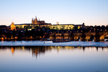 View Of Charles IV Bridge And River Vltava At Dusk, Prague, Czech Republic