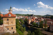 View Of State Castle And Town, Cesky Krumlov, Bohemia, Czech Republic