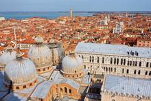 High Angle View Of City And St Marks Basilica, Venice, Veneto, Italy