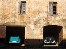 Cars Parked In Garage, Lacapelle Biron, Lot Et Garonne, France