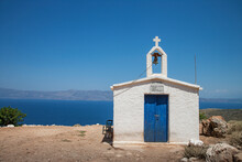 Small White Washed Church And Mediterranean, Chania, Crete, Greece