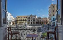 Colonial Architecture In Plaza Vieja From Balcony, Havana, Cuba