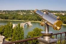 High Angle View Of Telescope And Pont Saint-Benezet/Pont D Avignon, Avignon, Provence, France
