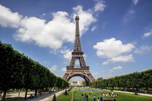 Tourists In Eiffel Tower Park,...