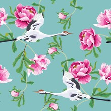 Seamless Pattern With Japanese White Cranes And Pink Peony.