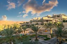 Palm Trees In Garden Of Qsar Al Sarab Desert Resort, Empty Quarter Desert, Abu Dhabi, United Arab Emirate