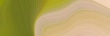abstract moving designed horizontal header with tan, olive drab and dark khaki colors. fluid curved lines with dynamic flowing waves and curves for poster or canvas