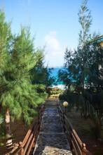 Stepped Walkway To Sea, Saint Martin, The Caribbean