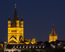 Great St Martin Church And Cologne Town Hall At Night, Cologne, Germany