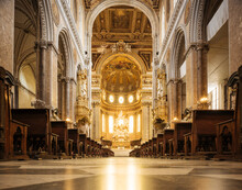 Church Aisle And Altar, Naples, Campania, Italy