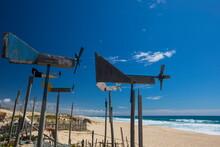 Worn Wind Vanes On Beach, Comporta, Setubal, Portugal
