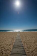 Diminishing Perspective Of Wooden Boardwalk On Beach, Comporta, Setubal, Portugal