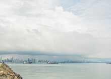 Distant View Of Ships And Panama City From Waterfront, Panama