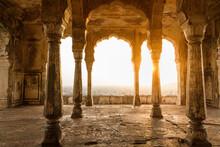 Sunlight Through Pillars In Su...