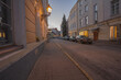 Tartu, Estonia, 01 August 2020 Deserted streets during coronavirus, summer evening, white nights in the Baltics.