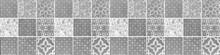 Seamless White Gray Grey Vintage Retro Geometric Square Mosaic Motif Cement Concrete Stone Tiles Texture Wide Background Banner Panorama