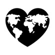 world map in heart shape icon, silhouette style