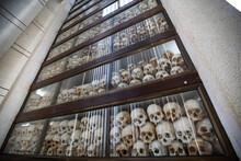 Low Angle View Of Human Skulls...