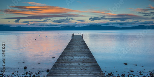 View of pier in Lake Tahoe during sunset