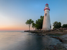 View Of Marblehead Lighthouse Against Blue Sky During Sunrise