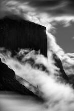 El Capitan Mountain With Fog At Night