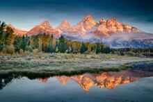 Scenic View Of Mountain And Lake In Grand Teton National Park