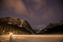 Scenic View Of Lake Louise At Night