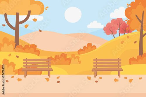 Fotografija landscape in autumn nature scene, benchs park falling leaves path trees sky clou