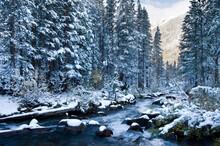 Bishop Creek In Eastern Sierra Nevada Mountains In Winter