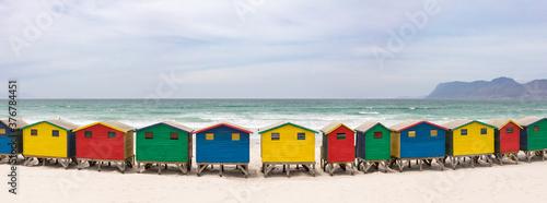 Colorful beach houses on Muizenberg beach - 376784451