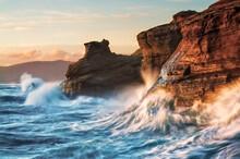 View Of Waves Splashing On Roc...