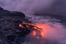 View Of Molten Lava Flowing In...