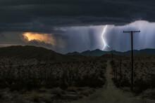 Lightning Illuminating Rural Dirt Road During Thunderstorm