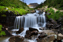 Long Exposure Of Waterfall In Glacier National Park, Montana