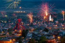 Firework Display Over Historic Town Of Butte