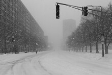 View Of City During Snow Storm