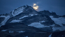 View Of Moon Rising Over Mount Carr In Garibaldi Provincial Park
